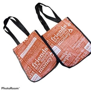 Lululemon two reusable bags red white with quotes
